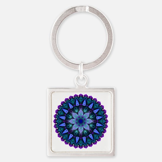 Evening Light Mandala Square Keychain