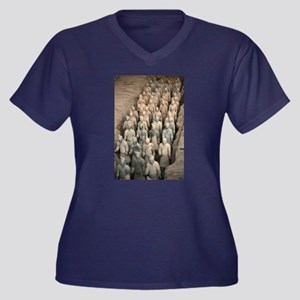 CHINA GIFT S Women's Plus Size V-Neck Dark T-Shirt
