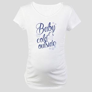 Seasonal Winter Blue Baby It's C Maternity T-Shirt