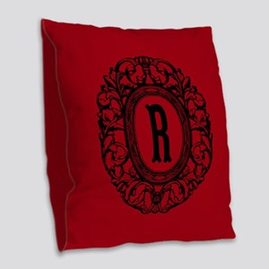 MONOGRAM Vintage Gothic Oval Burlap Throw Pillow