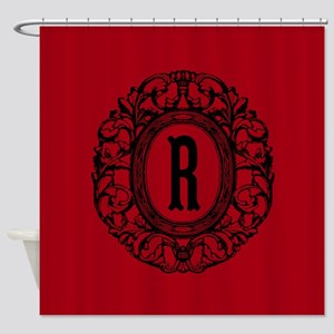 MONOGRAM Vintage Gothic Oval Shower Curtain