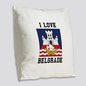 I Love Belgrade Burlap Throw Pillow