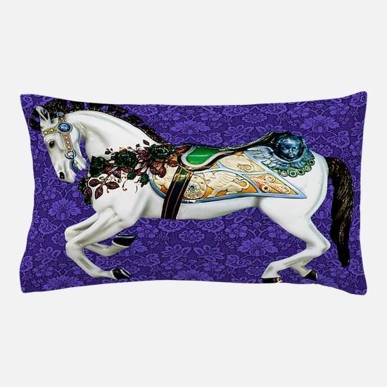 White Carousel Horse on Purple Damask Pillow Case
