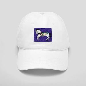 White Carousel Horse on Purple Damask Cap