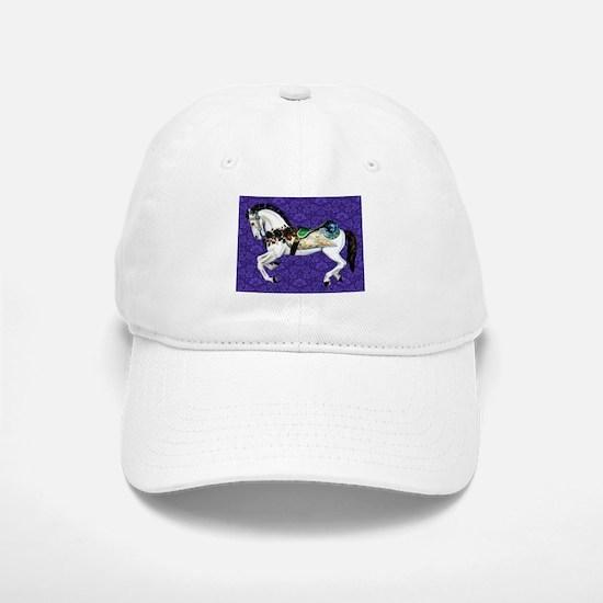White Carousel Horse on Purple Damask Baseball Baseball Cap