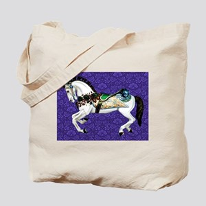 White Carousel Horse on Purple Damask Tote Bag
