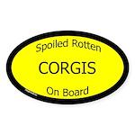 Spoiled Corgis On Board Oval Sticker