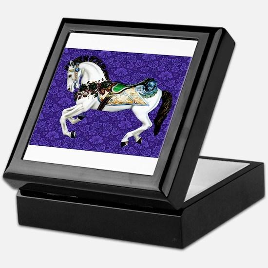 White Carousel Horse on Purple Damask Keepsake Box