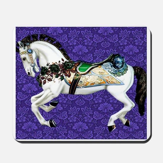 White Carousel Horse on Purple Damask Mousepad