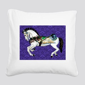 White Carousel Horse on Purpl Square Canvas Pillow