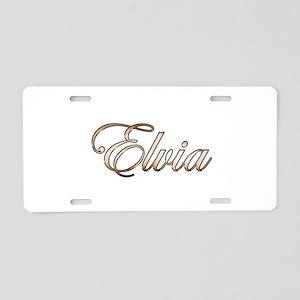 Gold Elvia Aluminum License Plate