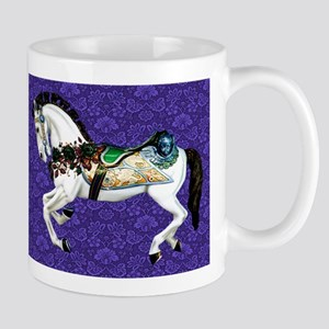White Carousel Horse on Purple Damask Mugs