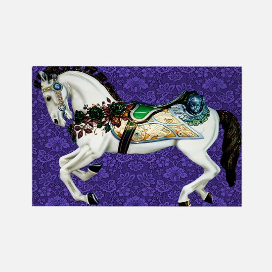 White Carousel Horse on Purple Damask Magnets