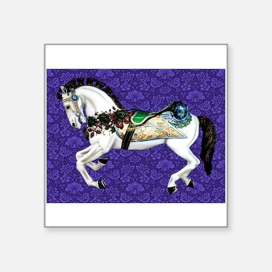 White Carousel Horse on Purple Damask Sticker