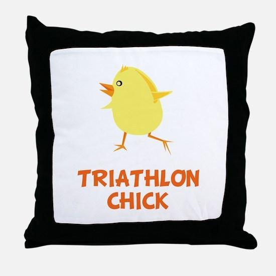 Triathlon Chick Throw Pillow