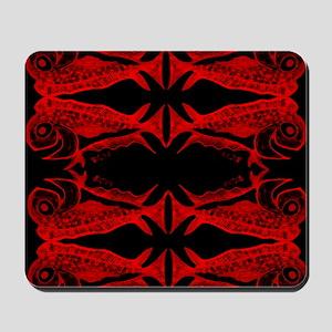 Retro Mahi Mahi Dark Pattern. Fish Tuna Mousepad