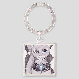 Grey Cat art Square Keychain