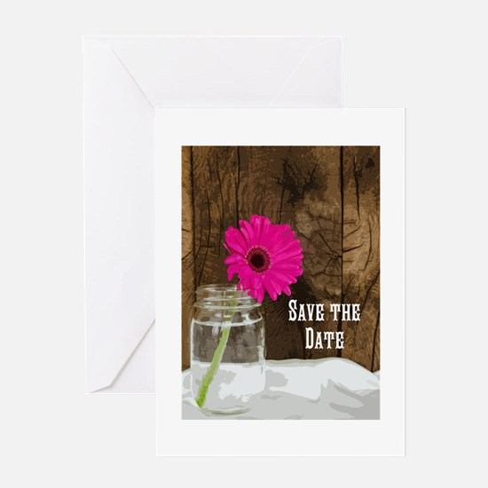 Daisy In Mason Jar Save The Date Greeting Cards