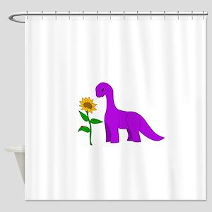 Sauropod and Sunflower Shower Curtain