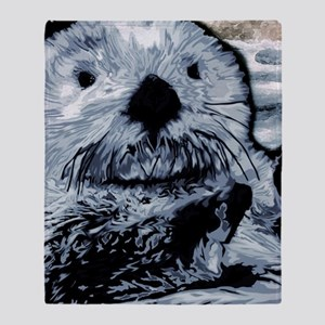 Denim Blue Sea Otter Throw Blanket