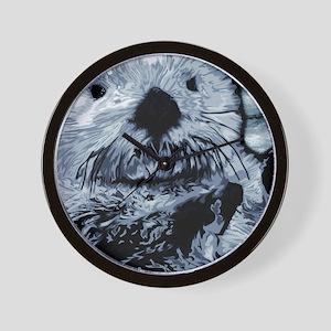 Denim Blue Sea Otter Wall Clock