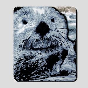 Denim Blue Sea Otter Mousepad