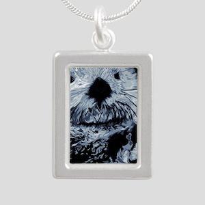 Denim Blue Sea Otter Silver Portrait Necklace