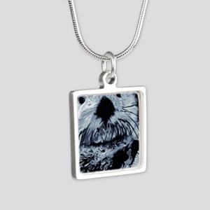 Denim Blue Sea Otter Silver Square Necklace
