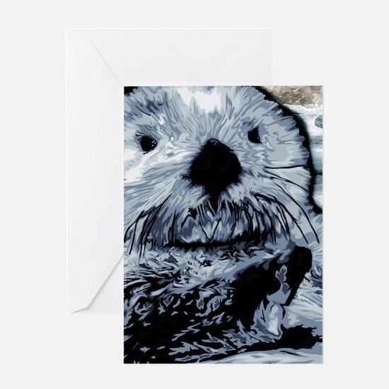 Denim Blue Sea Otter Greeting Card