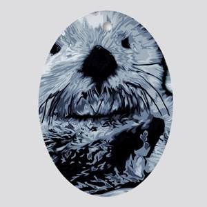 Denim Blue Sea Otter Oval Ornament