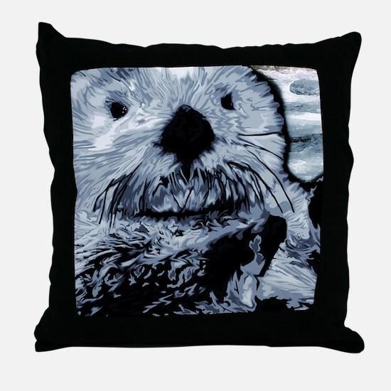 Denim Blue Sea Otter Throw Pillow