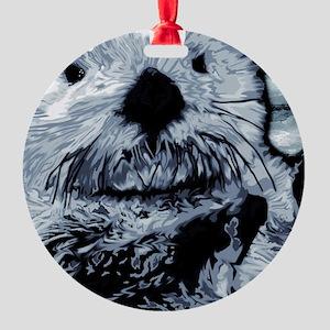 Denim Blue Sea Otter Round Ornament