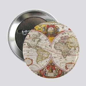 "Antique World Map 2.25"" Button"