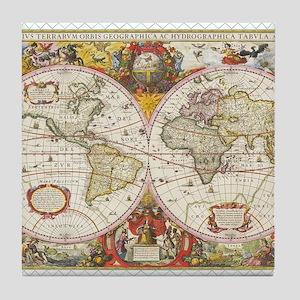 Antique World Map Tile Coaster