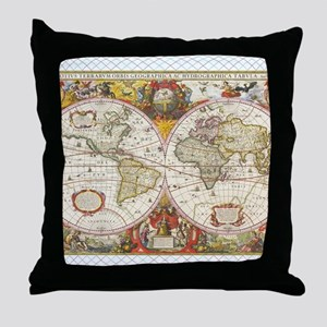 Antique World Map Throw Pillow