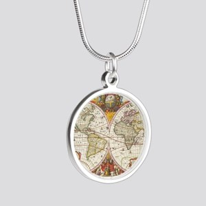 Antique World Map Silver Round Necklace