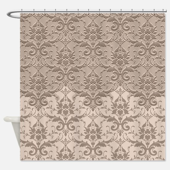 Two Tone Damask - Toasted Almond Shower Curtain