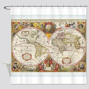 Antique World Map Shower Curtain