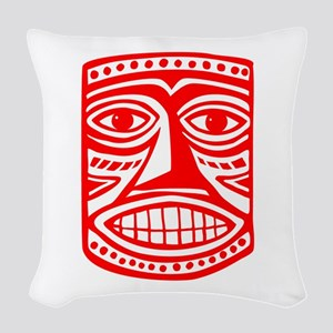 Tiki Mask 02 Woven Throw Pillow