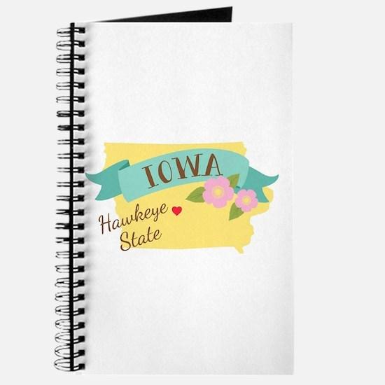 Iowa Hawkeye State Outline Wild Prairie Rose Flowe