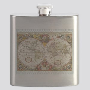 Antique World Map Flask