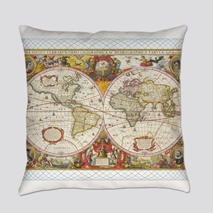 Antique World Map Everyday Pillow