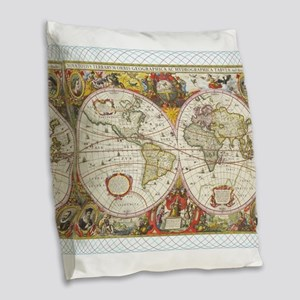 Antique World Map Burlap Throw Pillow