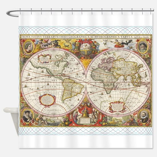 Old world map shower curtains cafepress antique world map shower curtain sciox Gallery