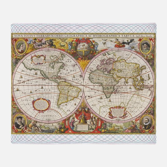 Antique World Map Throw Blanket