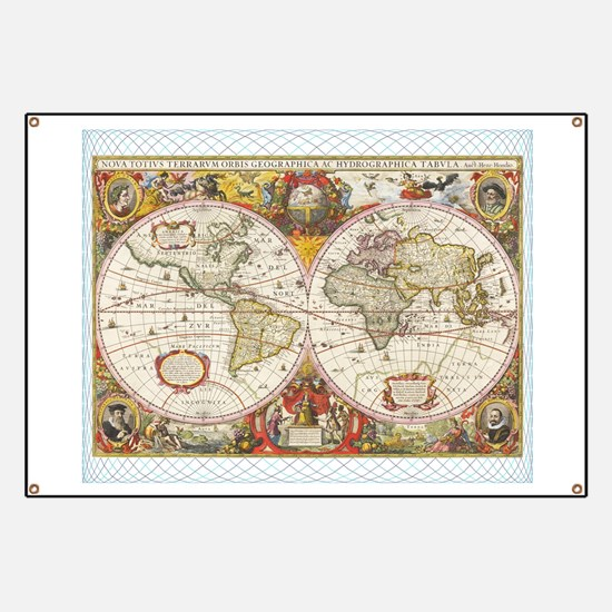 Antique World Map Banner