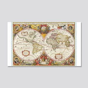 Antique World Map 20x12 Wall Decal