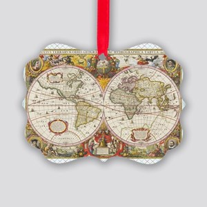 Antique World Map Picture Ornament