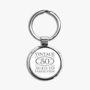 50th Birthday Vintage Round Keychain