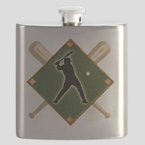 Baseball Diamond with Crossed Bats Flask